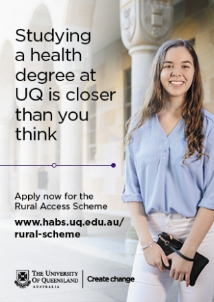 University of Queensland Rural Access Scheme Advertisement